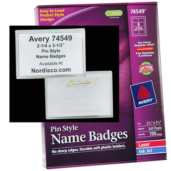 Avery 74549 Pin Style Name Badges
