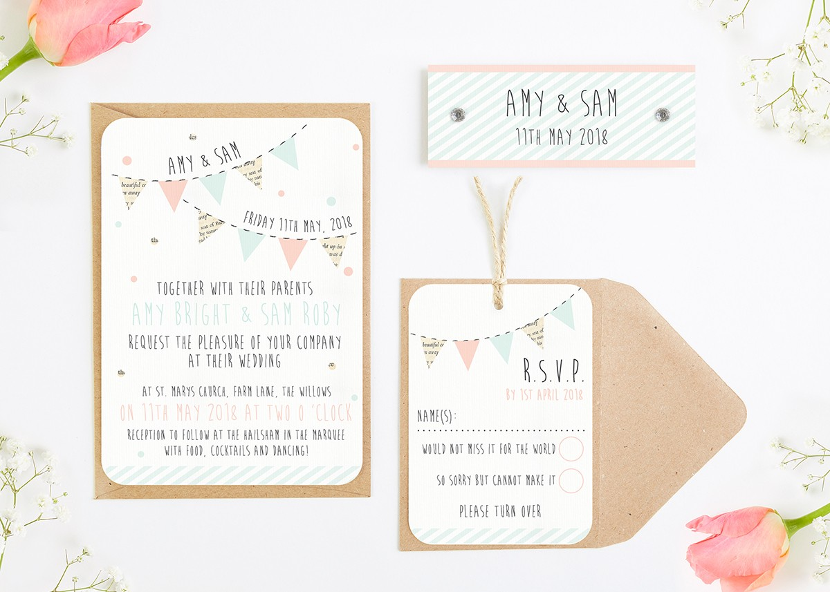 Bunting Spots Wedding Invitations Bundle Normadorothy