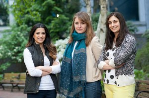 From left to right, Dalal Alhomaizi, Anna Neumann and Lauren Sears, three of over 60 undergraduate student researchers in Lisa Feldman Barrett's Interdisciplinary Affective Science Laboratory.