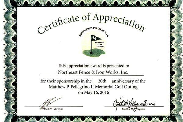 NFI recieves award Northeast Fence  Ironworks, Inc