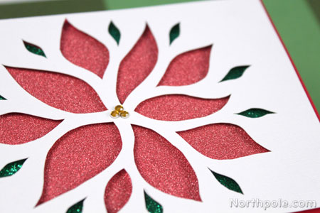 Craft Cottage - Glittery Poinsettia Cutout Card