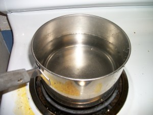 one large saucepan full of hot water