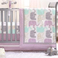 Little Peanut Lilac Purple and Gold Elephants 3 Piece Baby ...