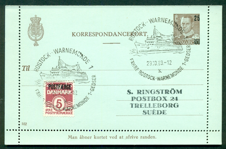 DENMARK 25 on 20ore + 5ore added #102 Letter card (68) used w/ship