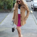 bright pink and classic camel - 5th and Mercer pencil skirt