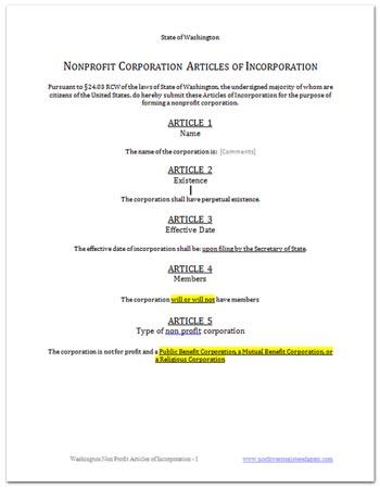 Free articles of incorporation Washington State non profit