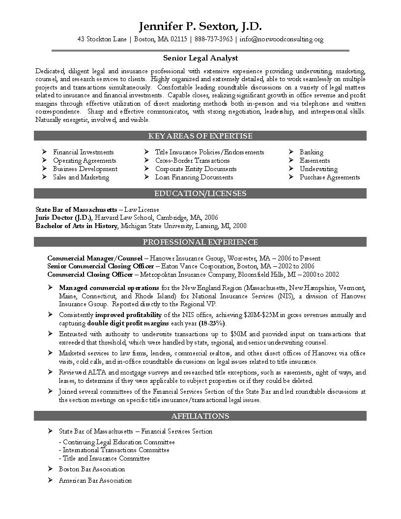 in house counsel resumes senior attorney resume sample - Contract Attorney Resume Sample
