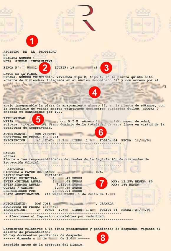 Nota Simple Registro Propiedad - Ejemplo Nota Simple