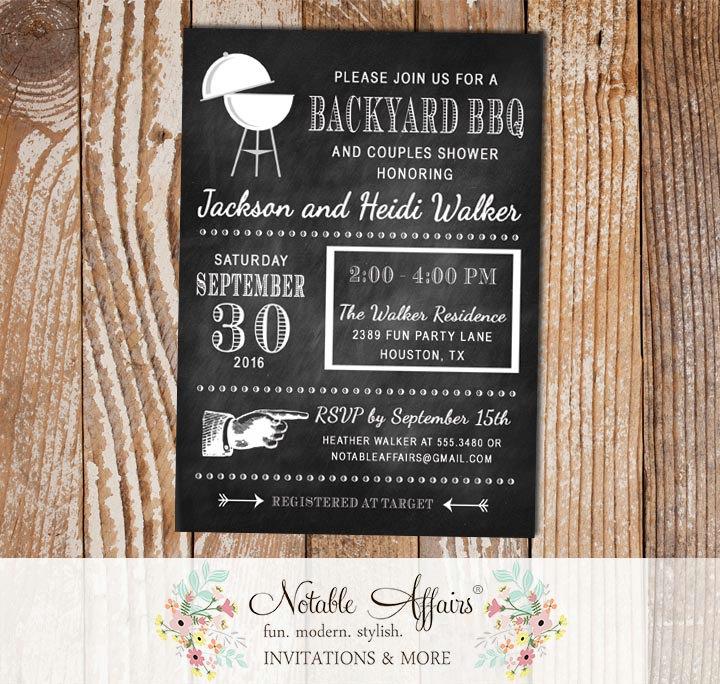 Backyard BBQ Modern Chalkboard Baby Q Barbecue invitation - Notable