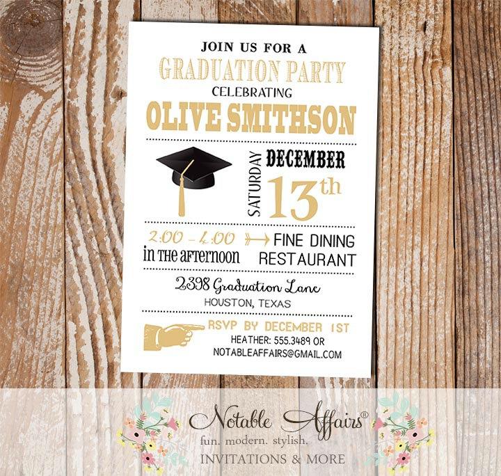 Black and Tan Gold Modern Graduation Party Senior Graduation