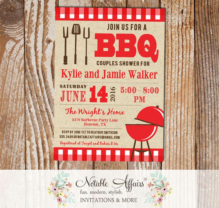 Backyard BBQ Baby Q Barbecue red gingham Invitation kraft background