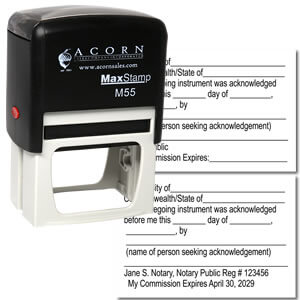 Self Inking Notary Acknowledgment Stamp