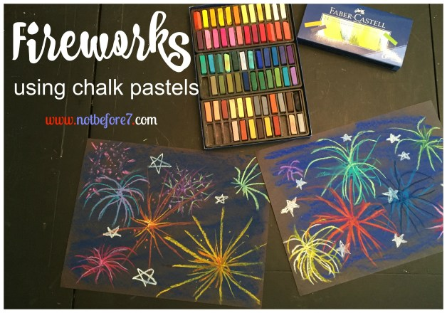 Firework Art Using Chalk Pastels