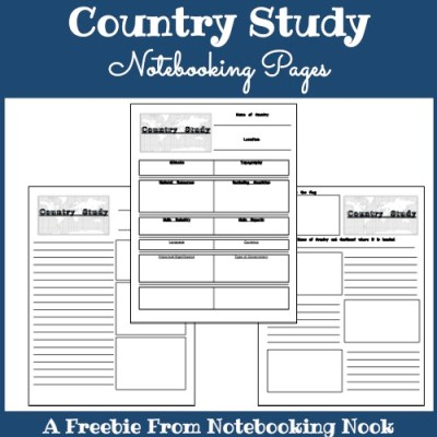 Freebie: Country Study Notebooking Pages