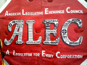 The American Legislative Exchange Council writes laws favorable to the oligarchs and lobbies for their enactment.