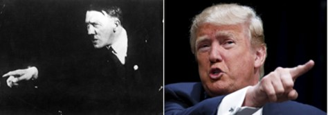 Adolf Hitler and Donald Trump point fingers at their audience