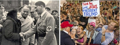 Adolf Hitler and Donald Trump greet adoring supporters.