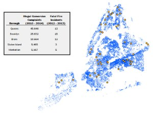 This NYC map compares complaints about illegal conversions to fatal fires in illegally converted dwellings.
