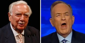 TV newsman Walter Cronkite, left, was known as the most trusted man in America. Aided by the demise of the Fairness Doctrine, Broadcast media has devolved to the likes of Fox News blowhard Bill O'Reilly.