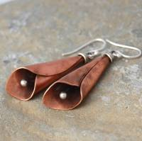copper and silver handmade lily earrings by alison moore