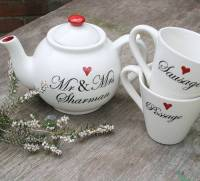 personalised wedding teapot and mugs by juliet reeves ...