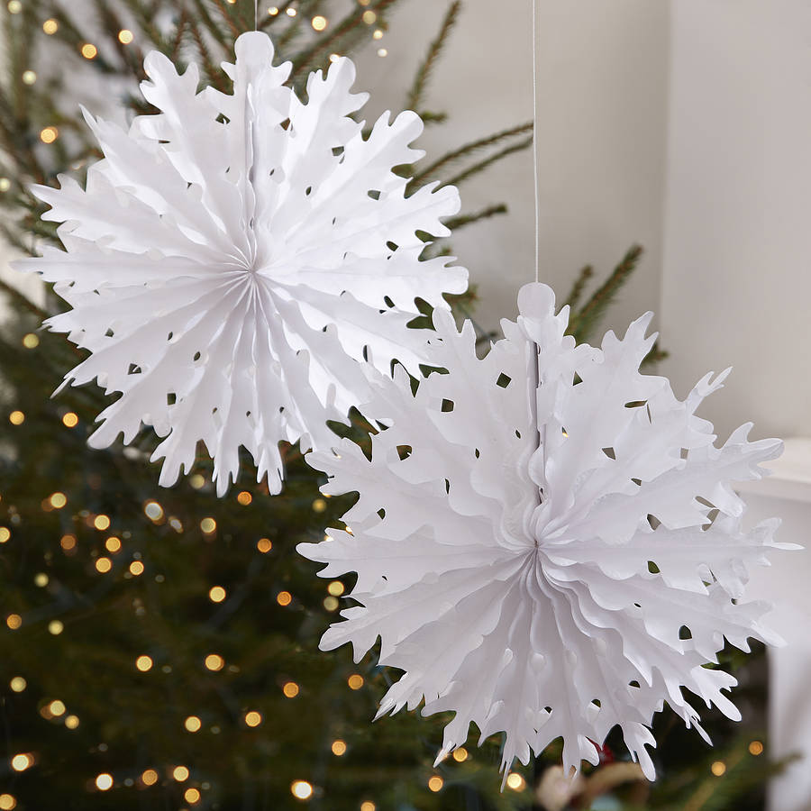 Tissue paper christmas decorations diy - Paper Snowflake Christmas Decorations Crafthubs Diy Download