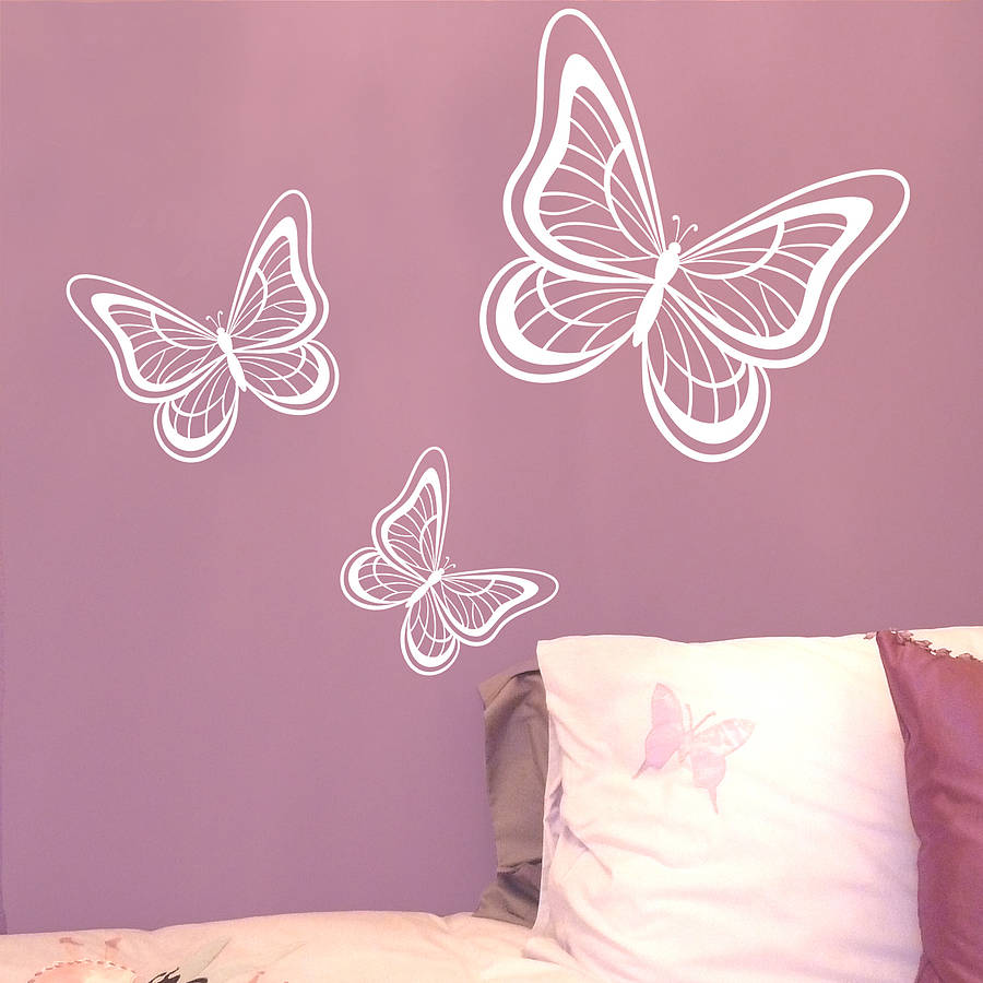 Set Of Three Butterflies Wall Sticker By Nutmeg