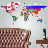 flags of the world map wall sticker by the binary box