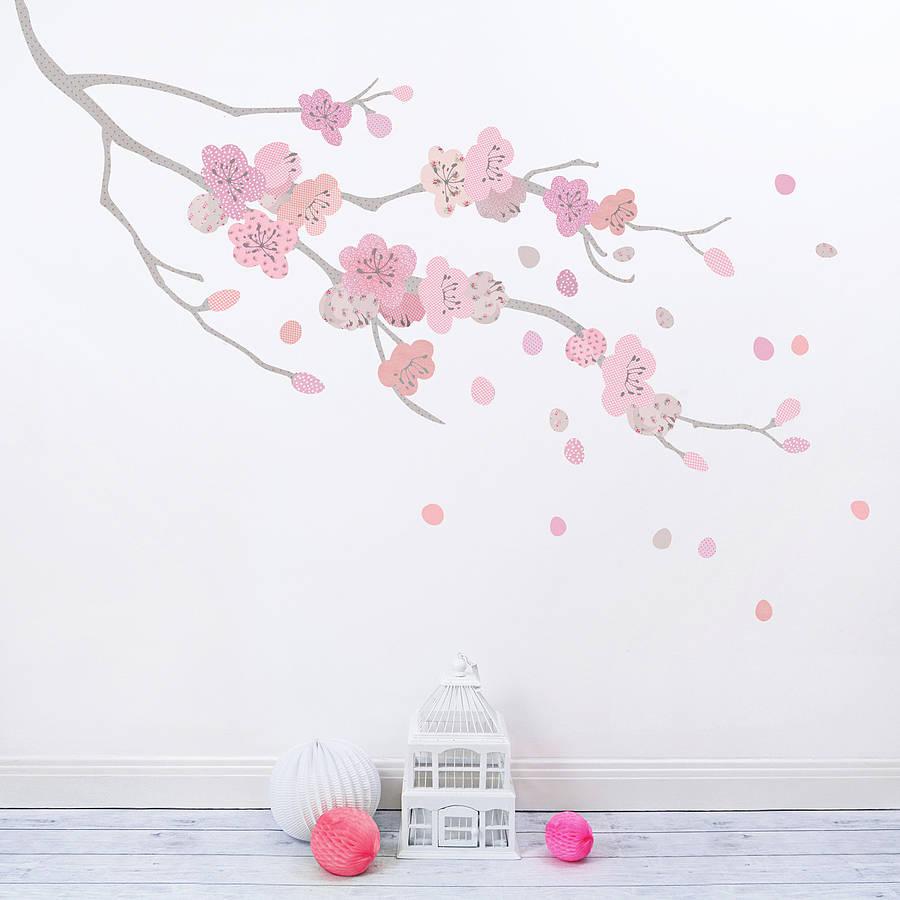 Wallpaper Border For Girl Nursery Children S Cherry Blossom Branch Fabric Wall Sticker By