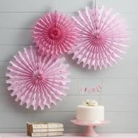 pink tissue paper fan decorations by ginger ray ...