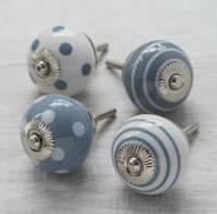 grey white ceramic cupboard drawer door knobs by pushka ...