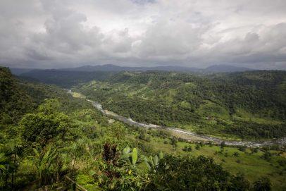 The river valley of Rio Blanco seen from San Miguel de los Bancos