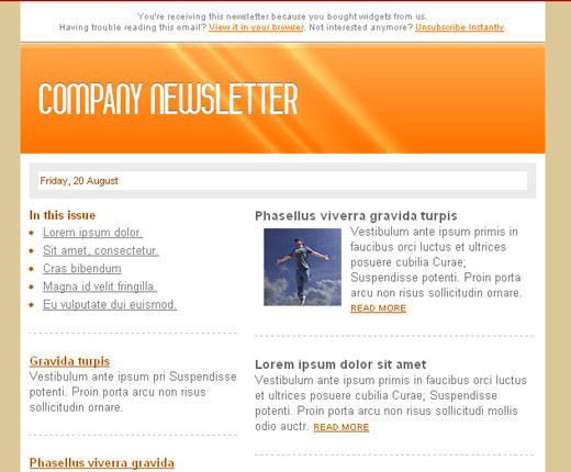Free HTML Newsletter Templates - noupe - company newsletter template free