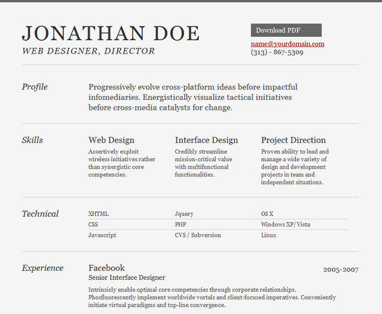 25 Free HTML Resume Templates for Your Successful Online Job - free pdf resume template