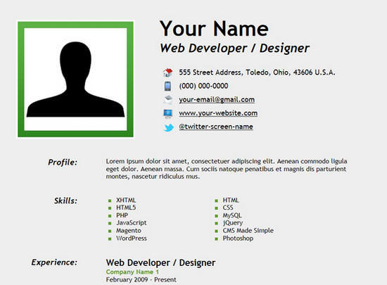 How To Create Resume Html ~ ANJINHO-B