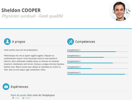 template cv html css free