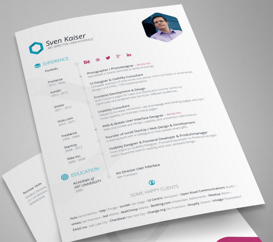 26 Free Resume Templates to Give You That Career Boost - noupe - free template resume
