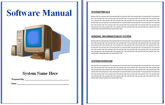 Software Manual Template User Manual Template Pdf Sample User - software manual template