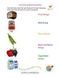 Printable - Match the Foods to the Food Group Worksheet