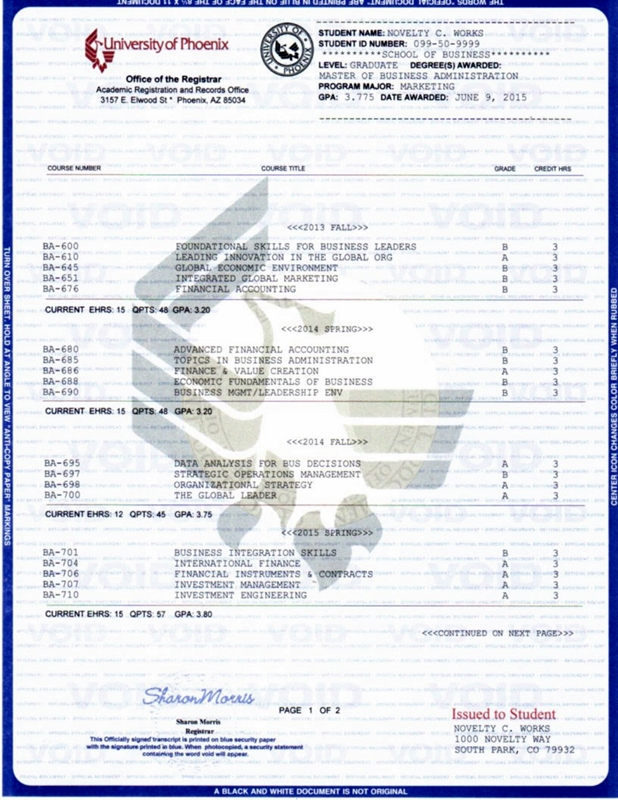 Diploma and Transcripts - Novelty Works Degrees