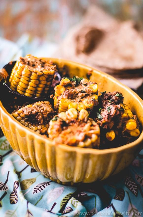 Bhutte ki sabzi: Corn cooked in a spicy onion yogurt gravy | The Novice Housewife