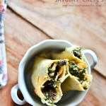 Cooking with the books: KAF's Savory Spinach Mushroom filled Whole Wheat Crepes