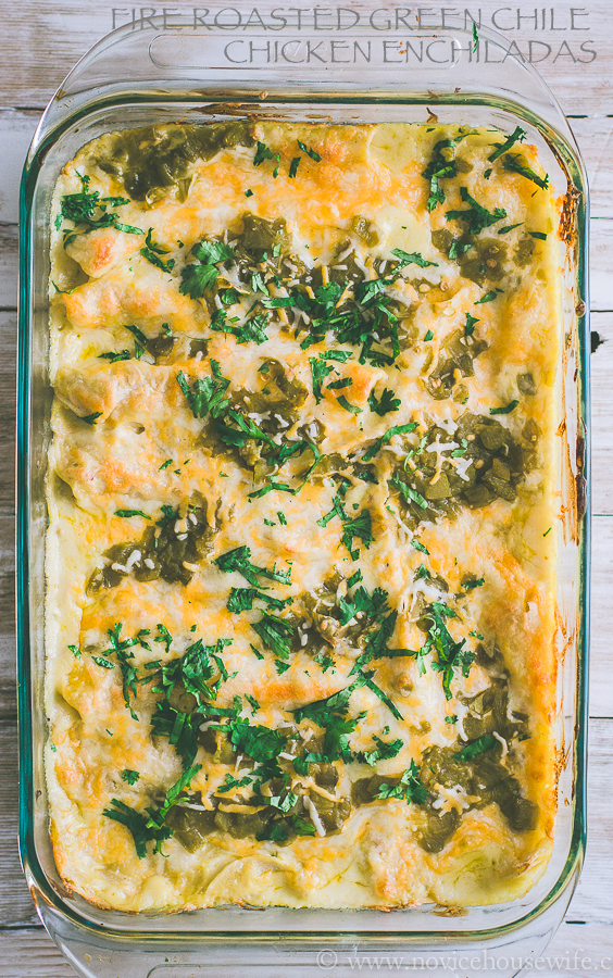 Fire Roasted Green Chile Chicken Enchiladas #easy #casseroles #chicken #enchiladas #mexican
