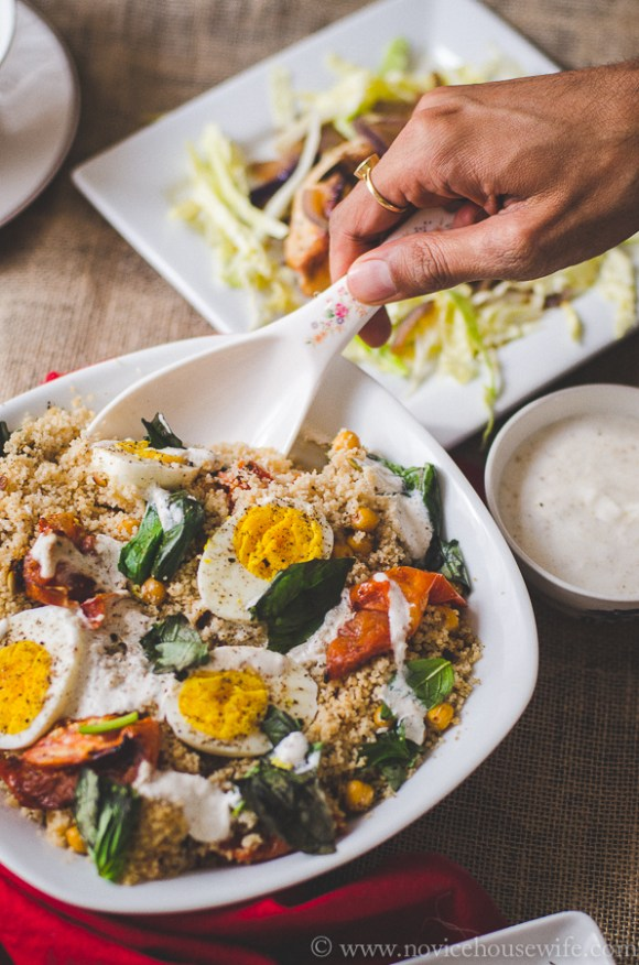 Couscous Salad with Chickpeas, Roasted Tomatoes and Boiled Eggs | The Novice Housewife