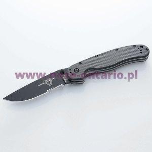 Nóż Ontario RAT 1 ząbkowany czarne ostrze