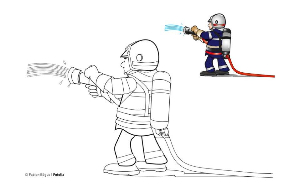 coloriage de pompier 2