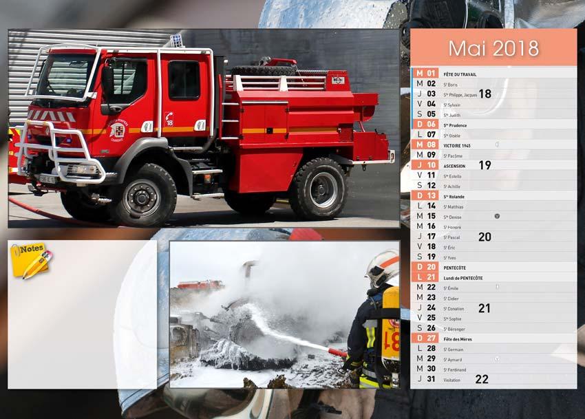 calendrier des sapeurs-pompiers de Villebois-2018-2, npc-calendrier.fr