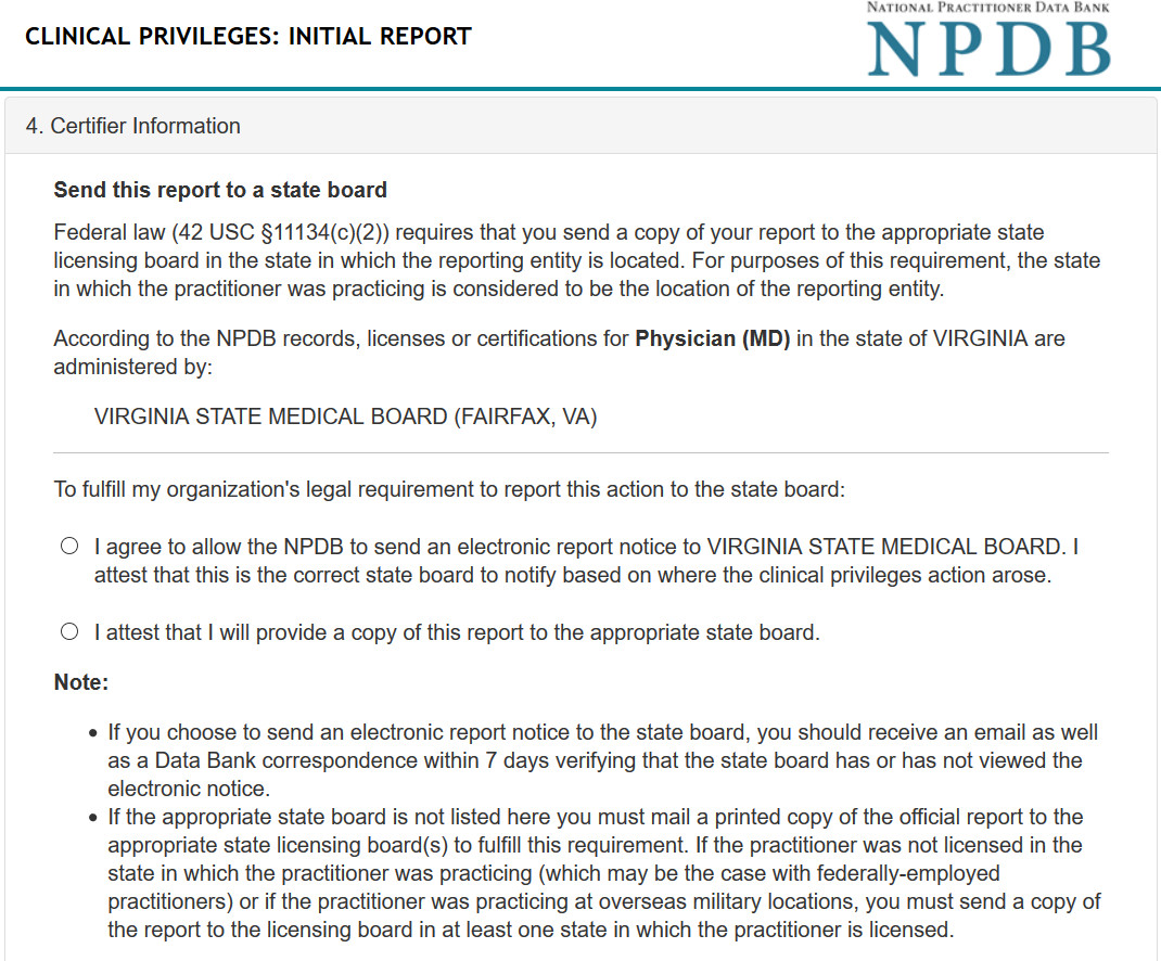 The NPDB - How to Forward Reports