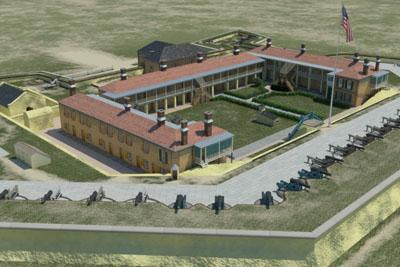 Battlefields in Motion model of Fort Moultrie in 1860
