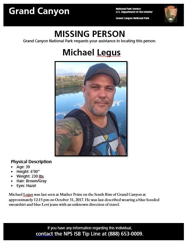 Missing Person Search Underway at South Rim of Grand Canyon National - missing person flyer